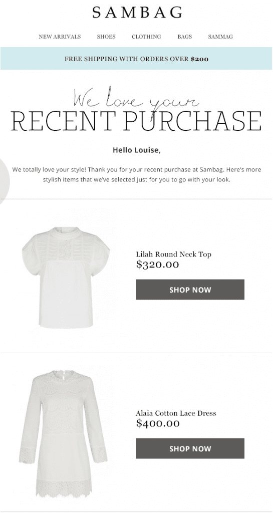 cross sell email example from sambag
