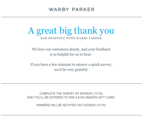 Warby Parker thank you email.