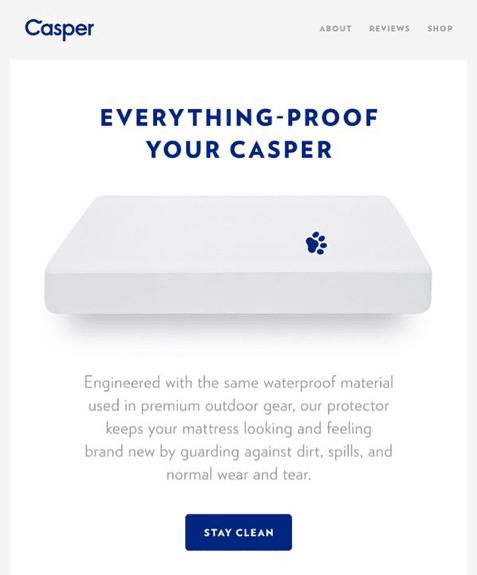 Casper CTA in email marketing example