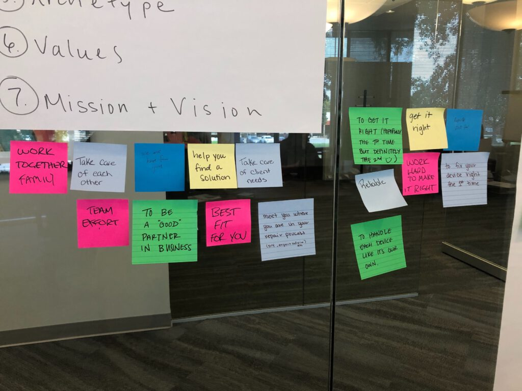 sticky notes on glass to find core values in brand voice workshop
