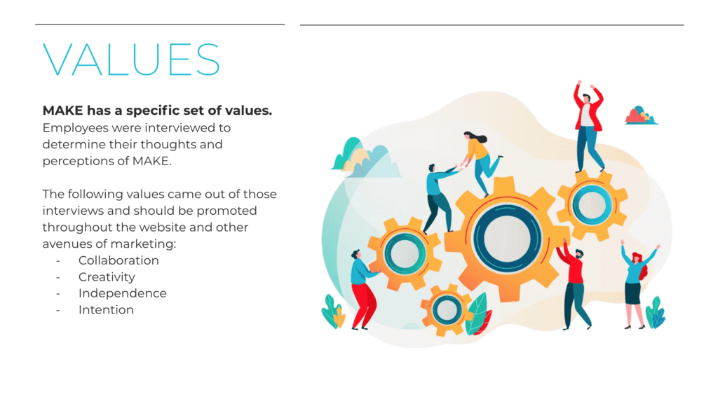 From Brand Voice presentation. MAKE's values page