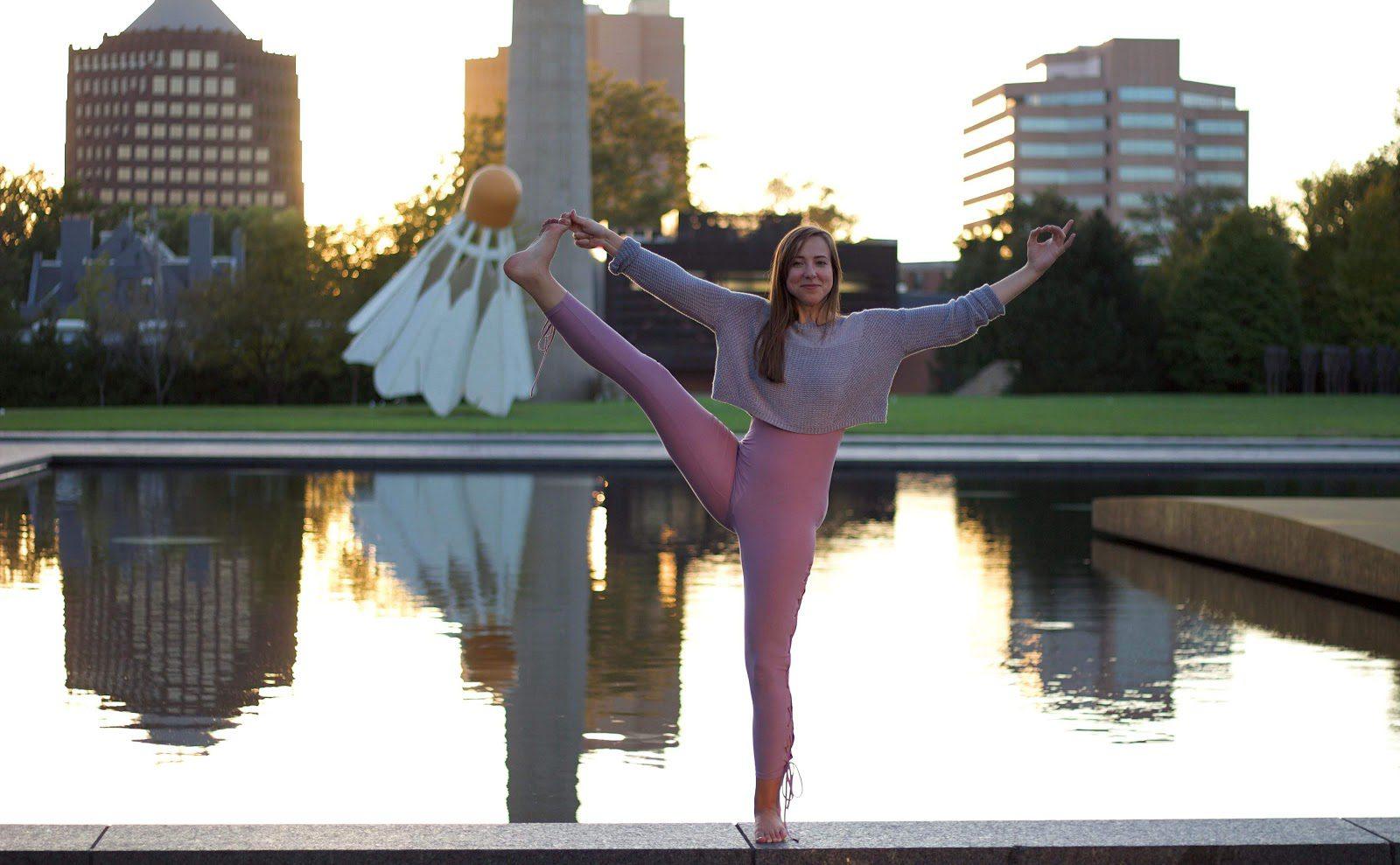 Taylor doing Yoga